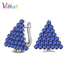 Earrings for women Earings fashion jewelry 925 silver blue crystal earrings black gold female classic triangle stud earrings