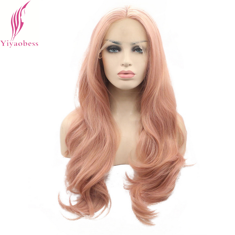 Yiyaobess 26inch Natural Wave Lace Front Wig Synthetic Hair Glueless Soft Rose Pink Wigs For Women High Temperature Fiber