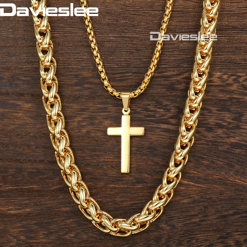 Davieslee Necklace For Men Cross Pendant Double Chain Gold Tone Stainless Steel Wheat Box Link Men's Necklace DDN06 double ring letter link chain pendant necklace