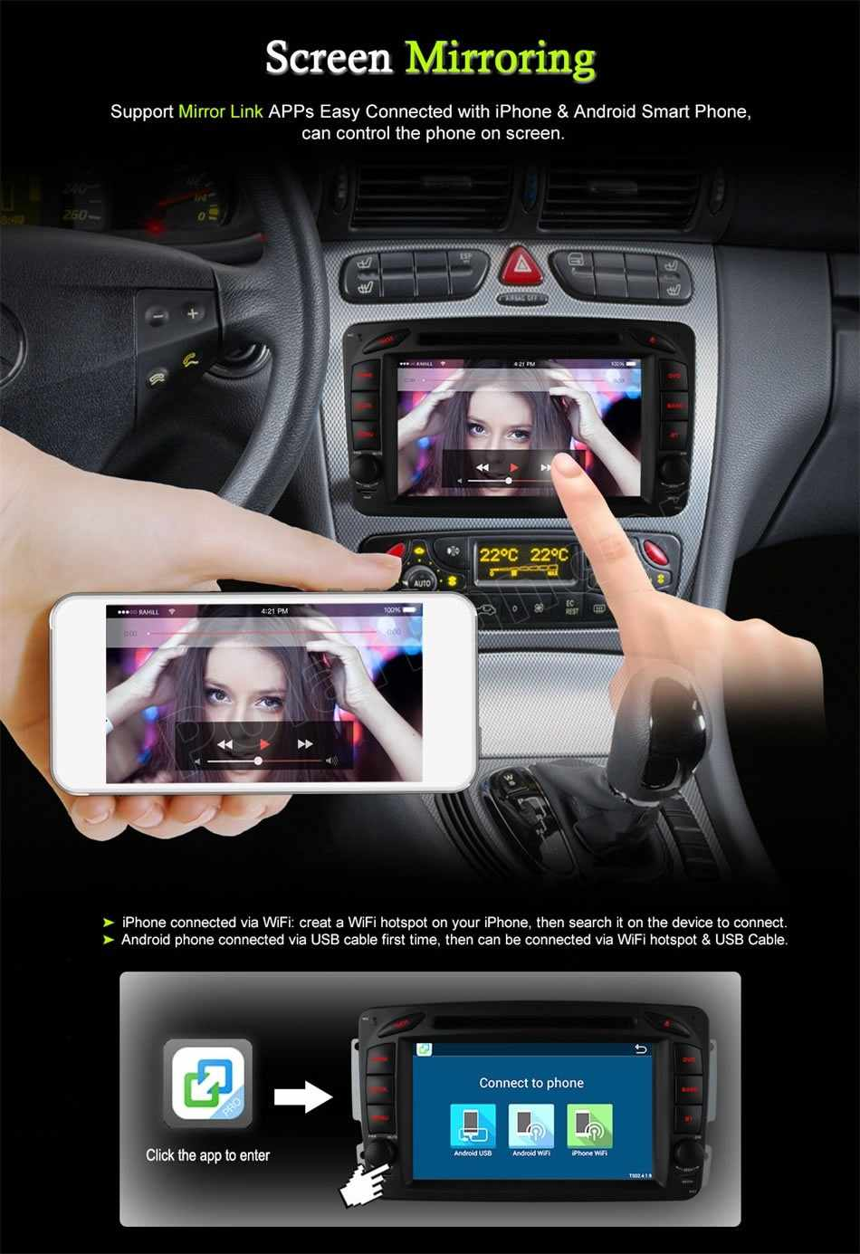 For Me/rcedes B-ENZ C/LK W209 W203 W168 W208 W463 W170 Vaneo Viano Vito E210 C208 Radio Car DVD Player Stereo Bluetooth