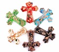 Wholesale 6pcs Murano Lampwork Glass Cross Pendant Fit Necklace Free Shipping P0002