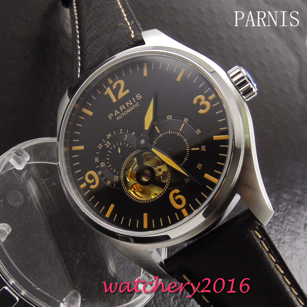 New 44mm Parnis men watches automatic mechanical black dial sapphire glass leather strap automatic movement Men's Watch 40mm parnis black dial sapphire glass asian automatic self wind mechanical movement men s watch mechanical watches g56