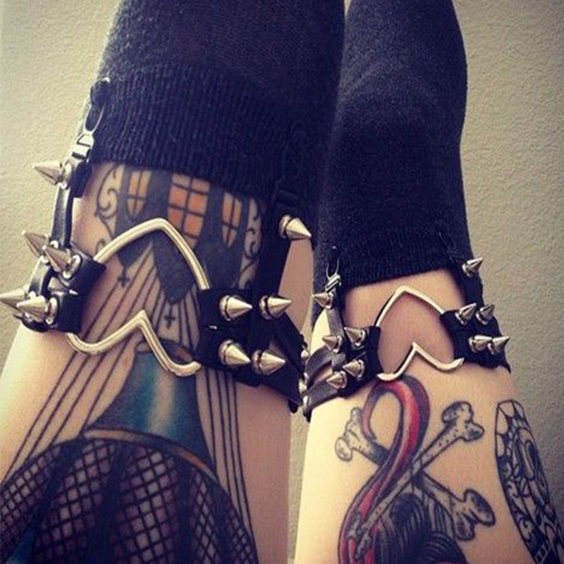 Rock Pub Girl Garter Belt Goth Rivets Harajuku Women Punk Leg Ring Thigh Harness Heart Garter կարգավորելի չափը կանանց համար սեքսուալ խաղալիք