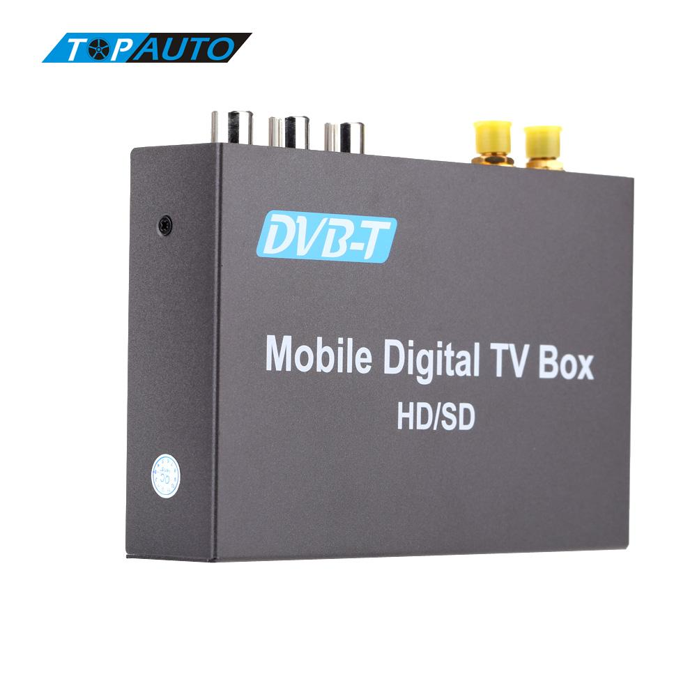 Double Antenna Car DVB-T Analog TV Tuner Various Channel Mobile Digital TV Box High Speed 240km/h Strong Signal Receiver for BMW dvb t tv adapter cable mcx female jack to dvb t tuner antenna extension rg316