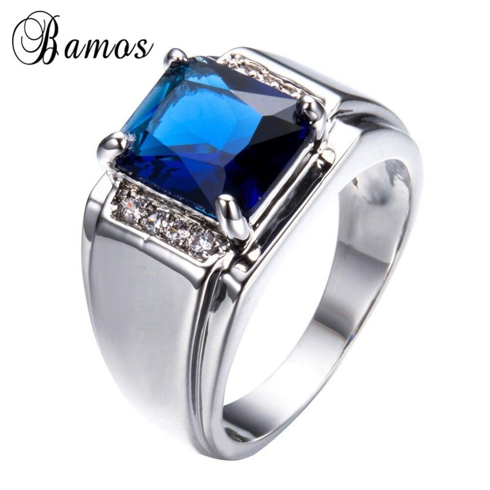 Бамос Винтаж прямоугольник голубой циркон палец Кольца для Для женщин Для мужчин серебро 925 Заполненный Свадебная вечеринка обещание кольц...