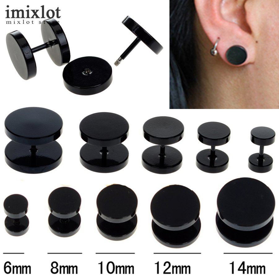Lot Black Stainless Steel Fake Ear Plug Stud Stretcher Ear Tunnel  Earring Piercing Body