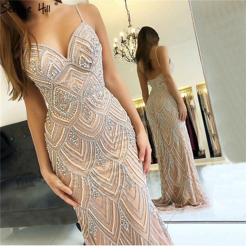 Dubai New Luxury Sexy Sleeveless Evening Dresses Mermaid Diamond Beading Mermaid Evening Gowns 2019 LA6628(China)