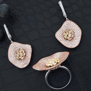 Image 2 - ModemAngel คุณภาพสูง Cubic Zirconia ใบต่างหูและแหวนสำหรับสุภาพสตรีเครื่องประดับเจ้าสาว