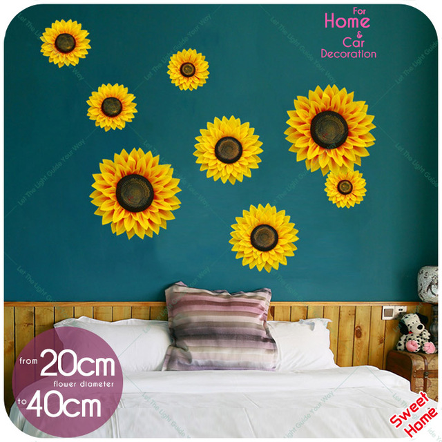4 Size A Set 3D Sunflower Wall Stickers Home Decor Wall Decals Sticker DIY  For Living