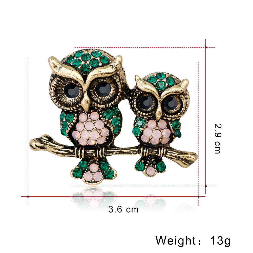 Cindy Xiang Rhinestone Owl Bros MAM dan Anak-anak Burung Bros Wanita Pria Perhiasan Suit T Sial Aksesoris Gaya Musim Panas baru 2018