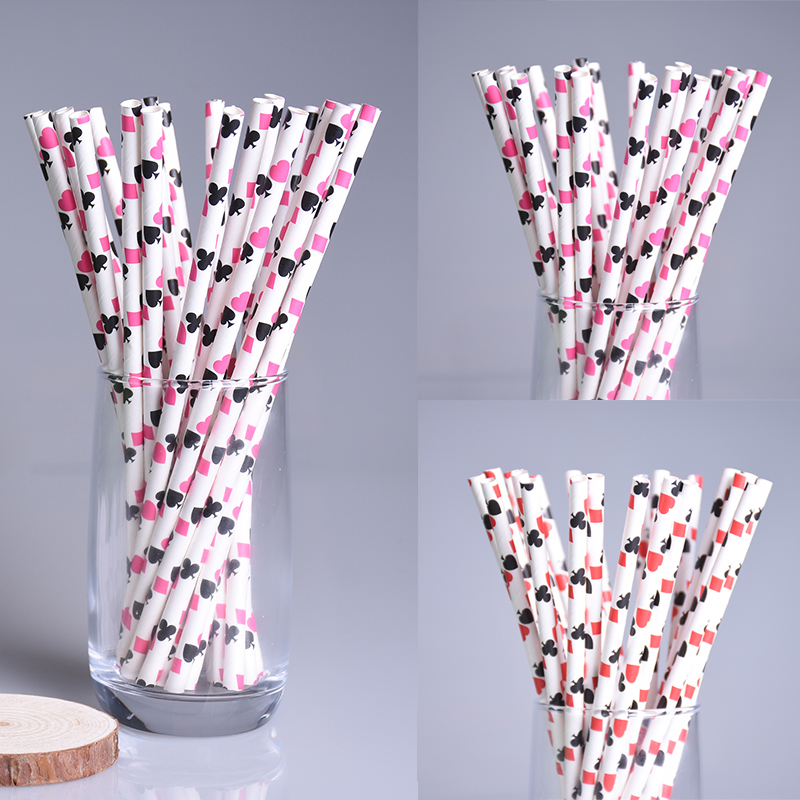 New 100pcs/lot Poker Pattern Paper Drinking Straws For Kids Birthday Wedding Christmas P ...