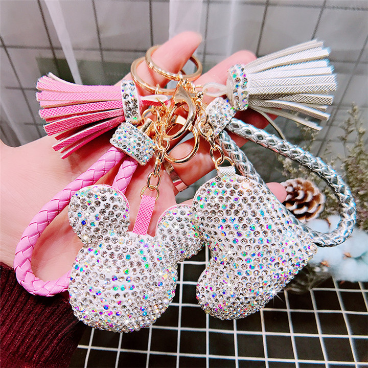 4 Creative Love Keychains Couple Bag Keyring Tassel Pendant Doll Leather Keychain For Women Fashion Jewelry Crystal Heart Keychains