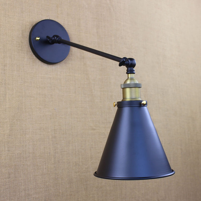 nordic loft antique wall lamps industrial style ajustable swing arm wall sconces metal horn shade unique