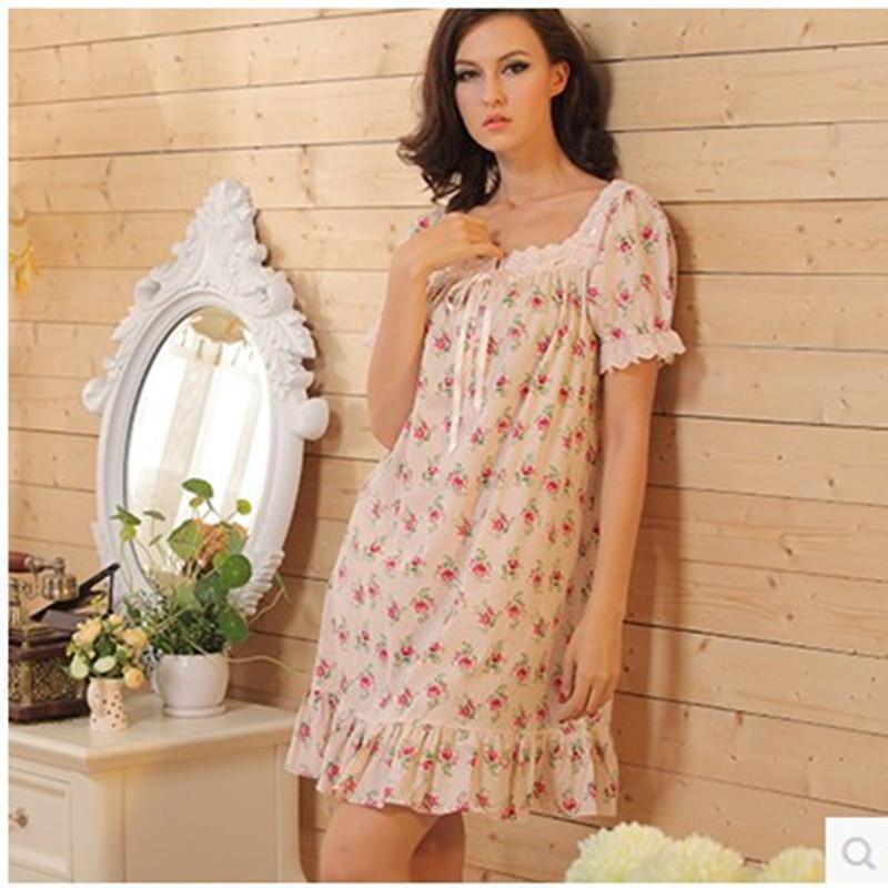 font b Nightgowns b font Women Summer Nightdress Lace Vintage Flowers Cotton Night Robe Women