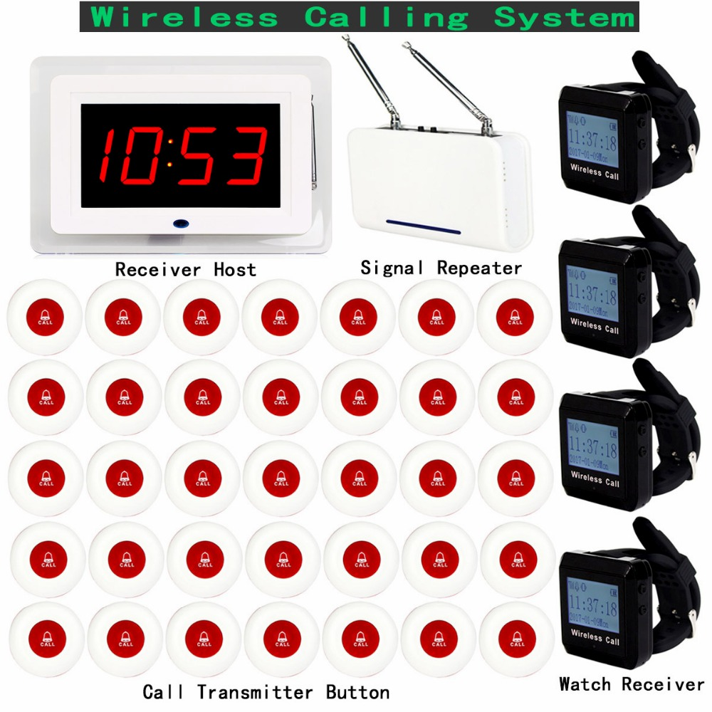 Wireless Pager Calling System For Restaurant Hotel With Receiver Host Watch Receiver + Signal Repeater +35pcs Call Button F3250C wireless calling system hot sell battery waterproof buzzer use table bell restaurant pager 5 display 45 call button