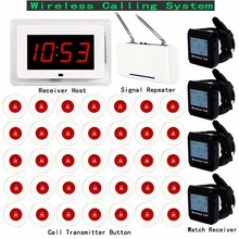 Wireless Pager Calling System For Restaurant Hotel With Receiver Host Watch Receiver + Signal Repeater +35pcs Call Button F3250C 2 3 alphanumeric display receiver host 433mhz with touch screen voice broadcast for restaurant ordering system queue management