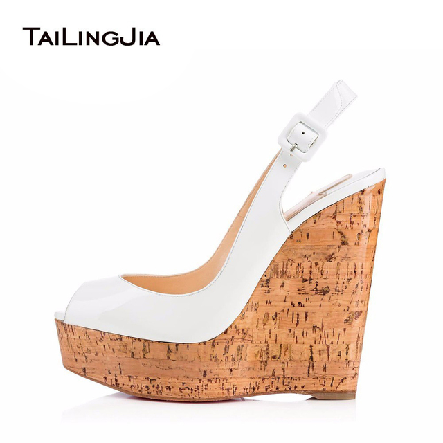 Womens Shiny White Peep Toe Slingback Cork Wedge Pumps Ladies Platform Wedding Shoes Skyhigh Bridal Sandals