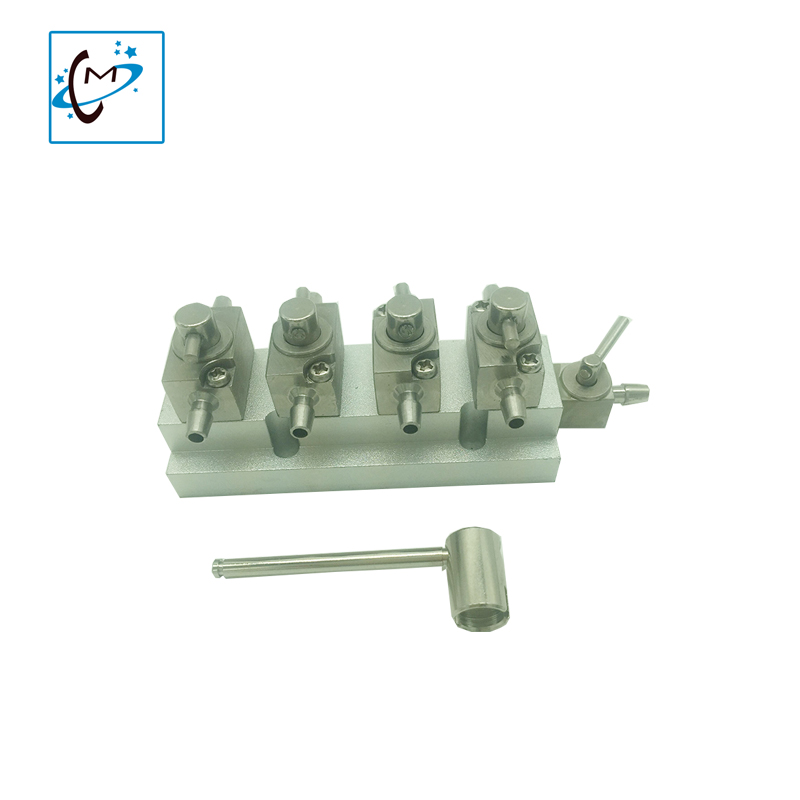 Hot sale 4 unit metal hand cleaner valve for infiniti iconteck crystaljet large format printer printhead cleaning valves unit durable challenger infiniti crystaljet iconteck sk4 solvent ink for spt 1020 510 255 printhead on sale
