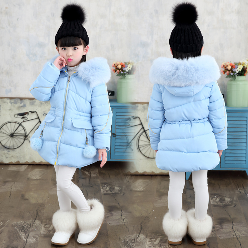 2018 New Girls Winter Warm Coat Kids School Fur Hooded Jacket Kids Fashion Thick Snow Wear Cotton Down Solid Color Winter Coats 2016korean new women winter coat super warm down jacket elegant solid color thick hooded casual large size slim women coat g0315