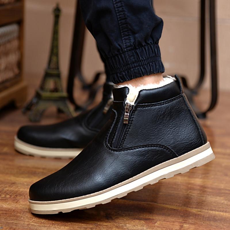 2019 Talvised meeste karusnahast saapad Briti mehed paks soe topelt lukuga tõmblukud tikksaapad mehed plush nahast puuvillased korterid kingad