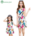 Mother daughter dresses New 2016 Summer Graffiti Print Dress Family matching mother daughter clothes European Fashion mom outfit