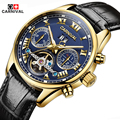 Men Watches Top Brand Carnival Luxury Military Sport Luminous Clock Genuine Leather Strap Automatic Mechanical Tourbillon Watch