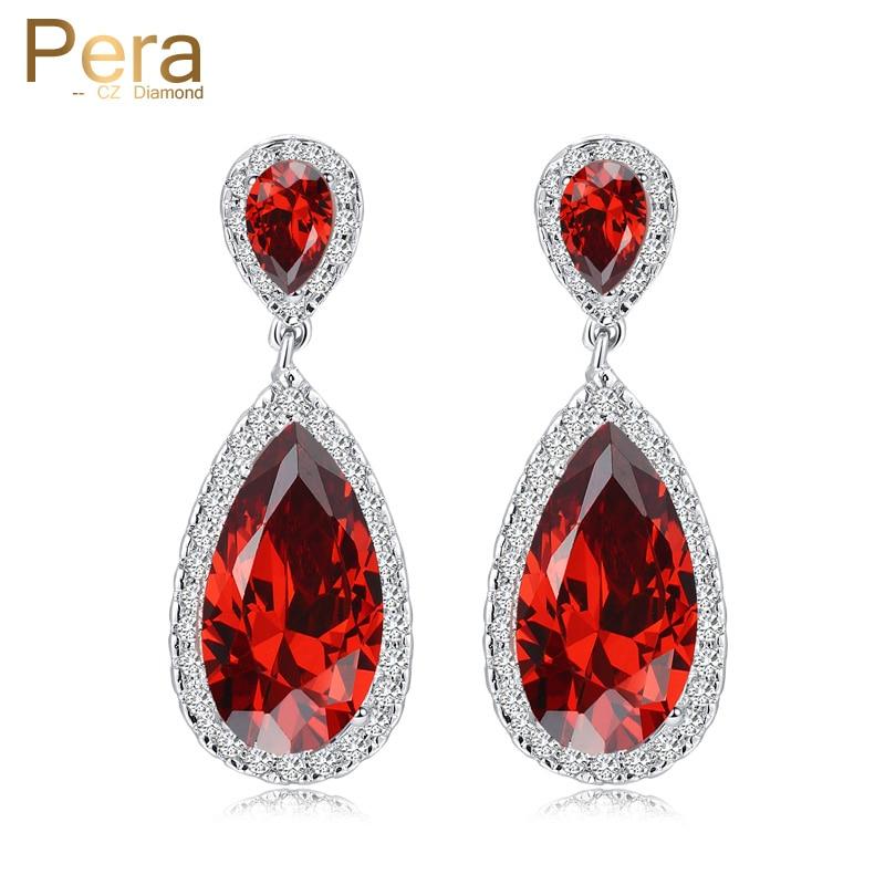 პერა ელეგანტური წითელი ყურის დიზაინის სამკაულები ვერცხლისფერი ფერი დიდი კუბური ცირკონიას ქვის საფარის გაშლა გრძელი დენალის საყურე ქალებისთვის E235