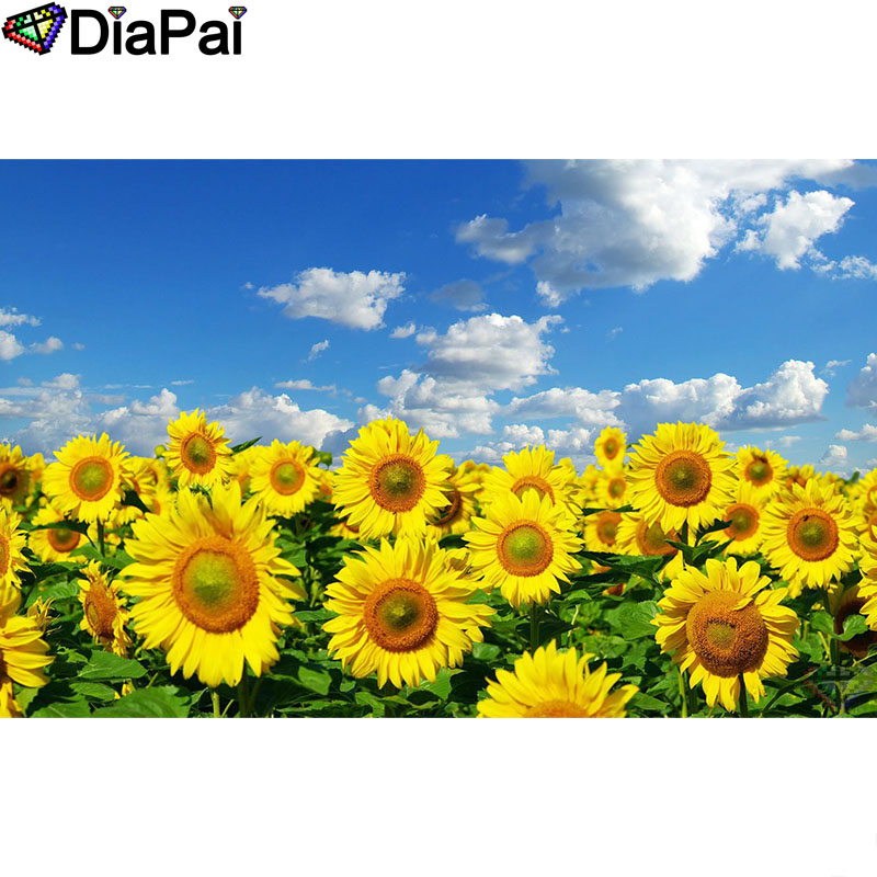 DIAPAI Diamond Painting 5D DIY 100% Full Square/Round Drill Sunflower scenery Embroidery Cross Stitch 3D Decor A24796