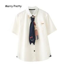 Merry Pretty Japanese Mori Girl Autumn White Blouse Women Cute Kawaii Cat Print Bow Tie School Uniform Preppy Style Shirt Female
