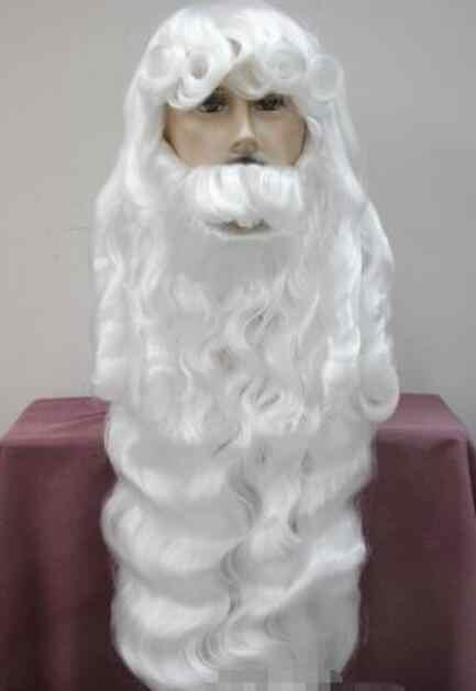 Peruk Gümüş beyaz Noel Baba sakal seti süslü elbise Cosplay peruk Hivision