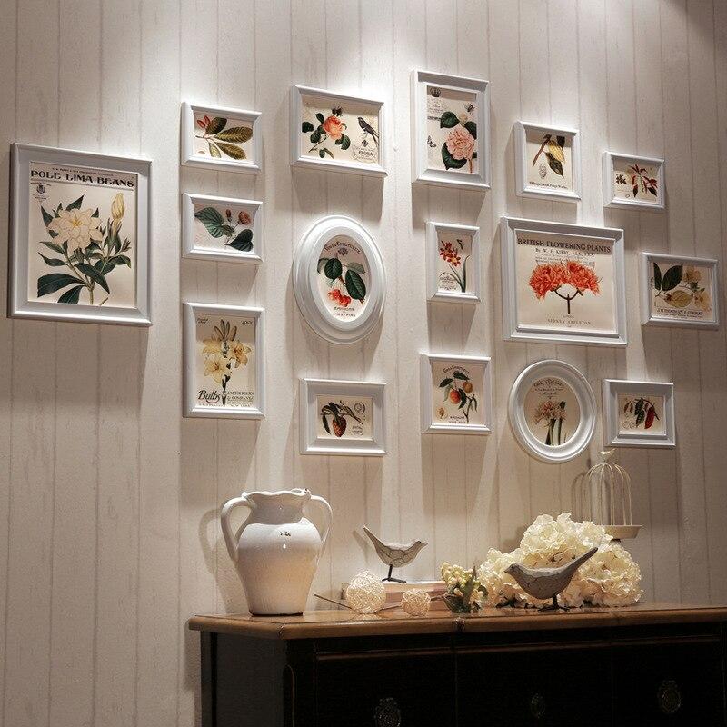 Moderne 16 Pcs/lot noir café blanc bois cadre Photo Art décor à la maison cadre ensemble créatif combinaison mur Photo cadre Photo ensemble