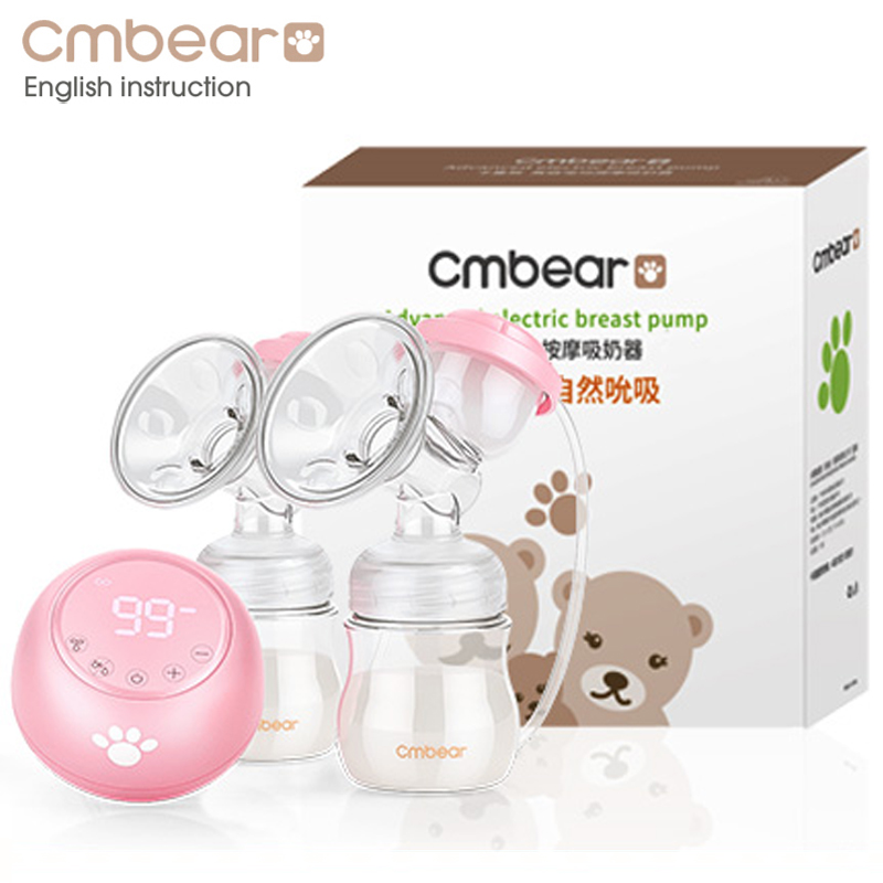 2018 Cmbear Double Electric Breast Pump Powerful Suction Newborn Baby Breast Feeding infantil USB breast pumps with two bottles цена