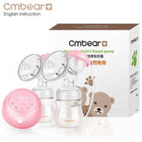 2019 Cmbear Double Electric Breast Pump Powerful Suction Newborn Baby Breast Feeding infantil USB breast pumps with two bottles
