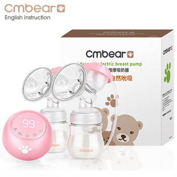 2020 Cmbear Double Electric Breast Pump Powerful Suction Newborn Baby Breast Feeding infantil USB breast pumps with two bottles