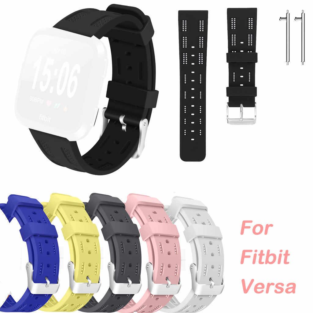 ซิลิโคน Openwork สายคล้องคอกีฬาสำหรับ Fitbit Versa Lite และผู้หญิงคู่หูดิบ Pins 528 #