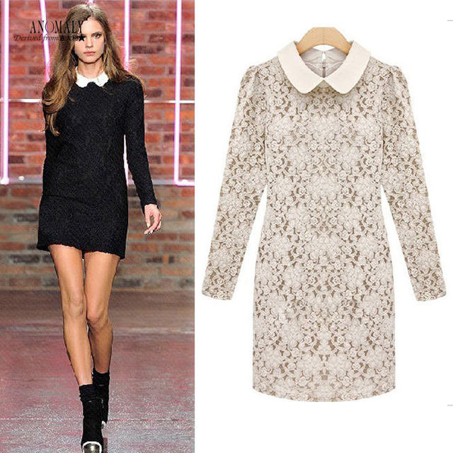 Dresses new arrival one-piece dress lace one-piece dress ladies slim peter pan collar long-sleeve basic skirt