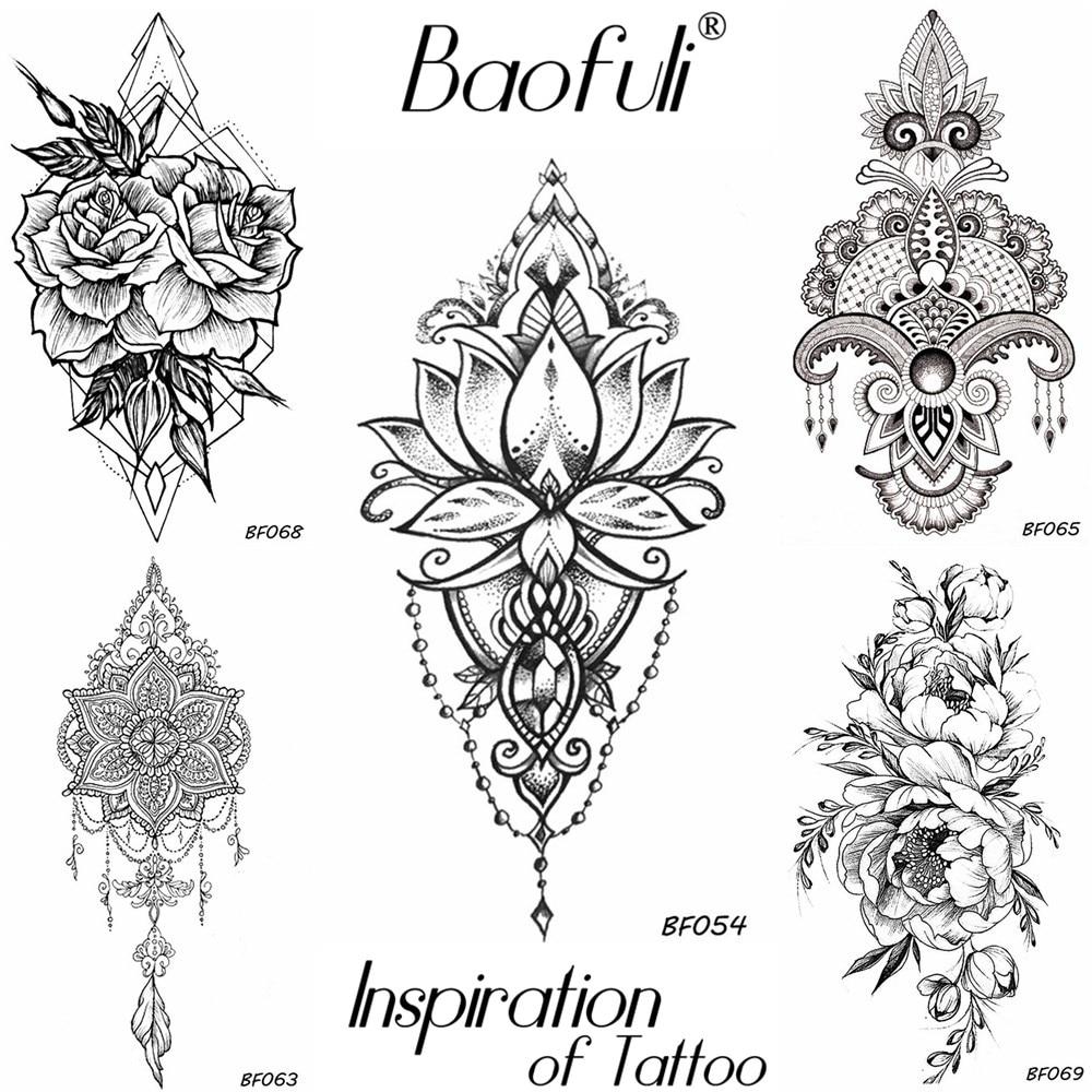BAOFULI Women DIY Henna Flowers Temporary Tattoo Black Lotus Sleeve Fake Tatoos Body Art Jewelry Waterproof Arm Tattoo Stickers