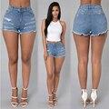 2016 Женщины Отверстие шорты Повседневная Твердые новый стиль Мода hot sexy girl Узкие Регулярные джинсовые Шорты