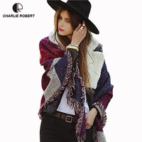CR 2017 New Spring Winter Pashmina Women Warm Wool Cashmere Stole Scarves Scarf Shawl AM309 Drop