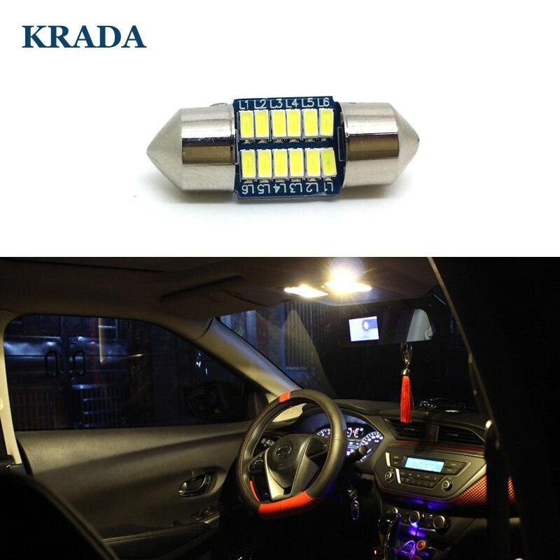 KRADA 10x Car Festoon C5W 28MM Interior White LED Canbus Bulbs for Toyota Corolla Camry Nissan