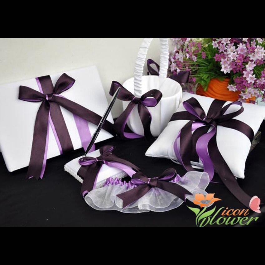 5 pièces/ensemble violet Satin Bowknot anneau de mariage oreiller livre d'invité + stylo ensemble anneau oreiller fleur filles panier mariage ensemble de mariée