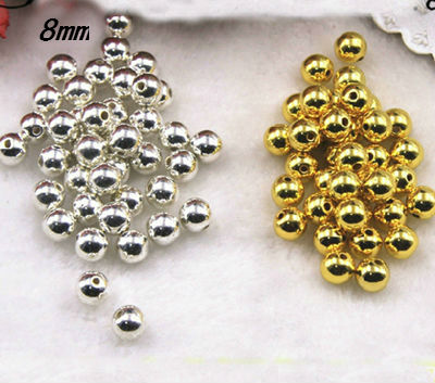 Free Shipping 130pcs 8mm Dia. Color Silver And Gold Round Pearl Imitation Plastic Pearl Beads For You To DIY Women Jewelry