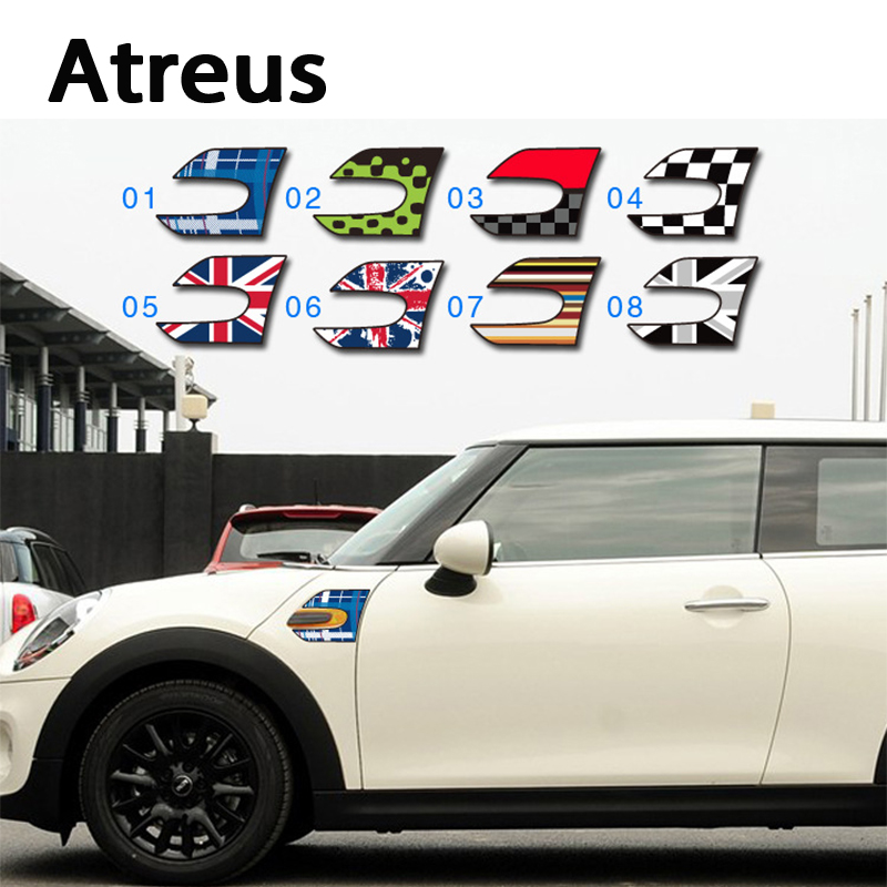 Atreus 2pcs 3D Car-styling Car head window door side stickers cover for Mini Cooper R56 R50 R53 F56 F55 R60 R57 carking d1409124 uk flag style abs uv protected door handle cover for mini cooper countryman 4 pcs