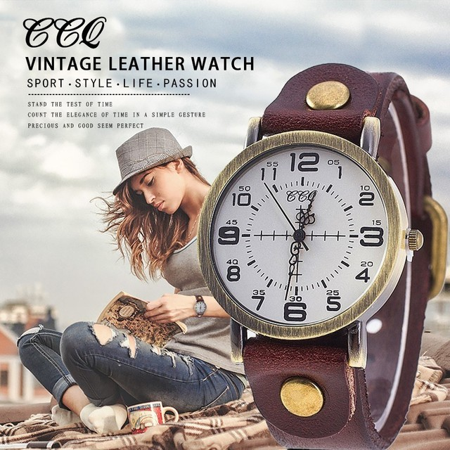 CCQ Vintage Cow Leather Bracelet Watch Women Wrist Watches Casual Luxury Quartz