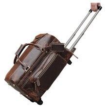 CONTO de VIAGEM dos homens de couro genuíno de rolamento rodas do trole da bagagem do trole de viagem saco para viajar