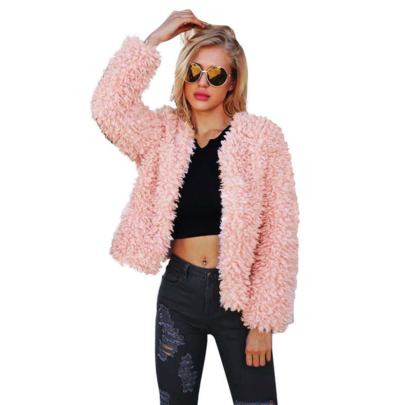 2018 nueva chaqueta de piel sintética para mujer cálida protección color rosa dulce abrigo