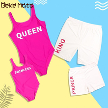 Family Matching Clothes Summer Mom Daughter Swimwear Look Mother Swimsuits KING QUEEN Father Son Beach Suits Set
