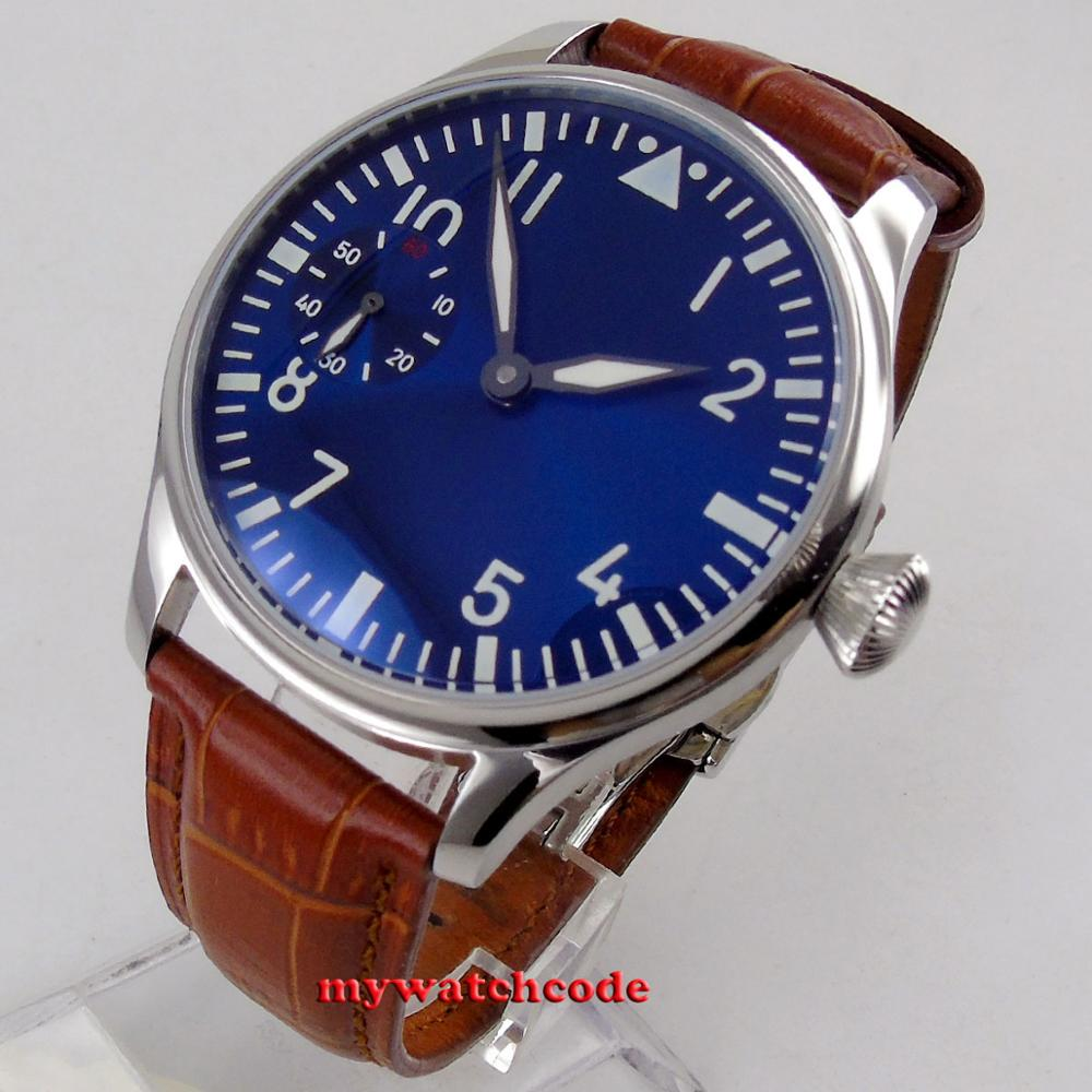 new arrive 44mm PARNIS blue dial luminous marks hand winding 6497 mechanical mens watch P1257new arrive 44mm PARNIS blue dial luminous marks hand winding 6497 mechanical mens watch P1257