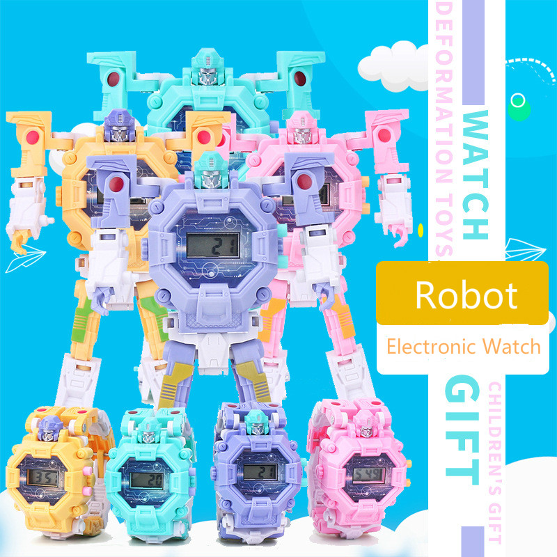 Fashion Interesting Girl Boy Transformed Kids Electronic Watch Back Light Robot Children's Watch Reloj