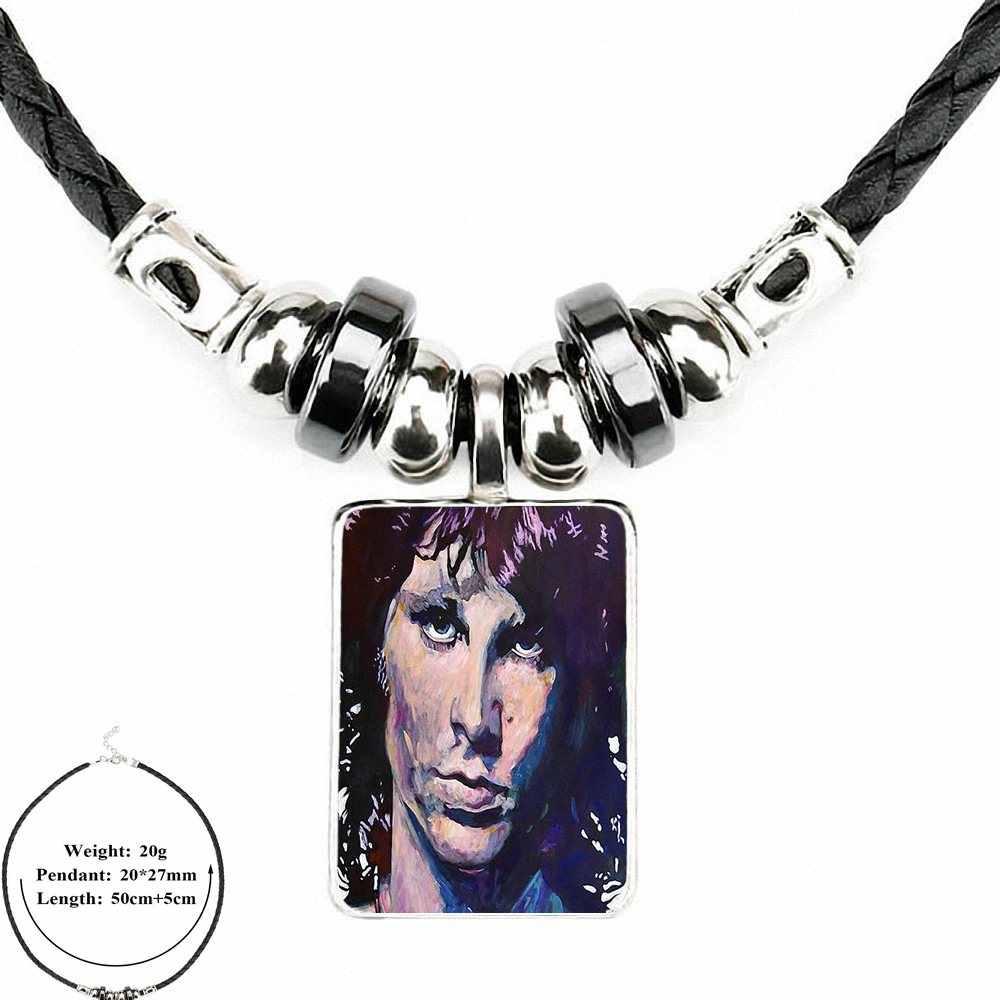 c6a8d6b2cb9fd EJ Glaze Jim Morrison Doors Abstract Art For Women Wedding Vintage Jewelry  Black Leather Bead Pendant Glass Cabochon Necklace
